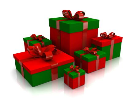Christmas Presents for family 3d gift boxes Stock Photo - 4014847