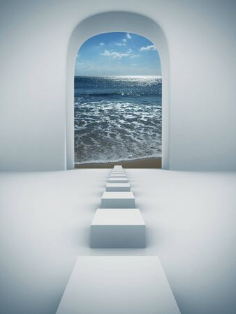 stage door: Steps to paradise Stock Photo