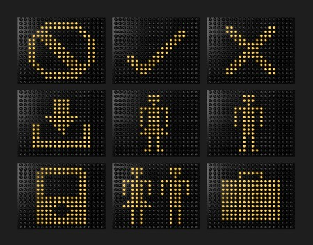 Led effect icons formed by balls with light 3d rendered set 2 photo