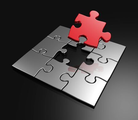 managed: Completing last master piece red puzzle 3d rendered
