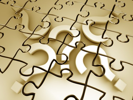 Question mark puzzle 3d rendered graphic Stock Photo - 4481384