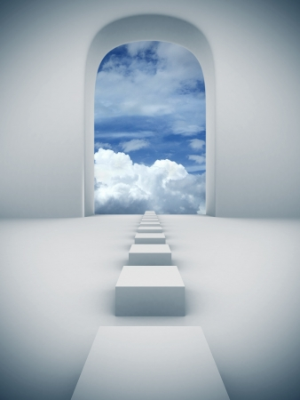 Steps to sky 3d and photo combined illustration