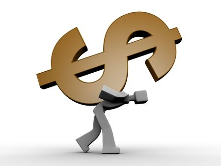 financial questions: 3d man carrying a heavy dollar symbol