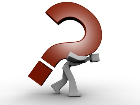 3d man carrying a heavy question mark Stock Photo - 4481395