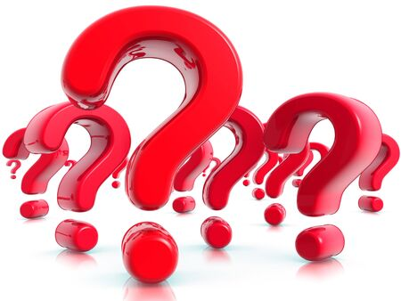 questioner: Question Marks Red Stock Photo