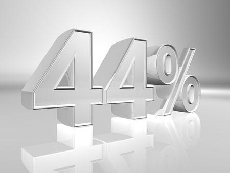 Forty-four percent 3d illustration illustration