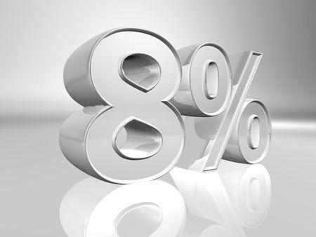 Eight percent 3d illustration illustration