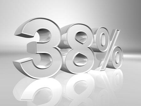 installment: Thirty-eight percent 3d illustration