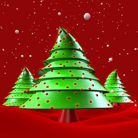 dreamland: Christmas trees with snow falling greeting 3d illustration