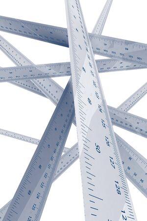 centimetre: Ruler overlapping 3d rendered illustration