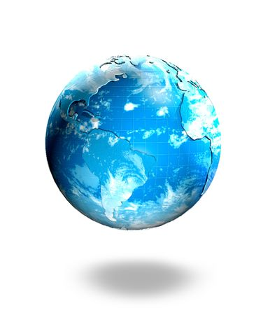 Globe of the world surrounded by cloud isolated 3d object Stock Photo - 5015277