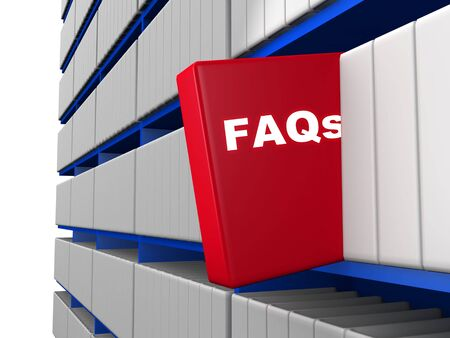 outstanding: Frequently ask question concept a outstanding red book with the word FAQs 3d illustration Stock Photo