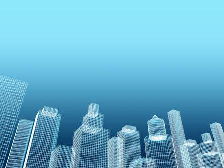 corporate building real estate 3d illustration