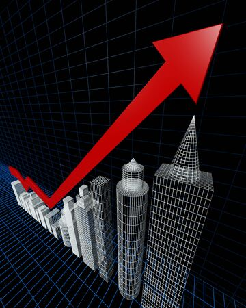 valuation: Property valuation chart arrow pointing up to the tallest building 3d illustration Stock Photo