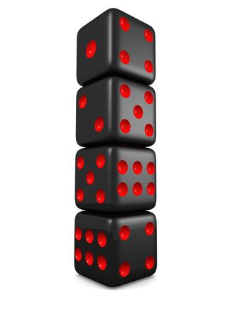 wagers: Black dice in a row isolated 3d illustration