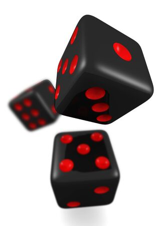 bounce: Black dice in bounce isolated 3d illustration Stock Photo