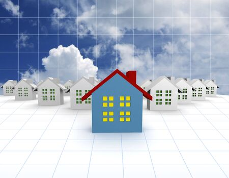 outstanding: blue outstanding 3d houses with sky and cloud background