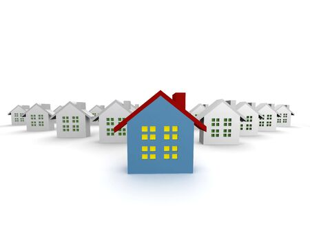 outstanding: blue outstanding 3d houses isolated Stock Photo