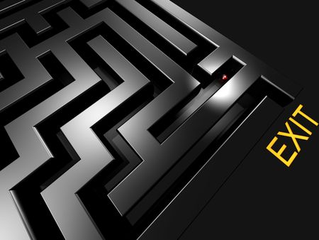 bonanza: lost in maze looking for exit 3d rendered illustration