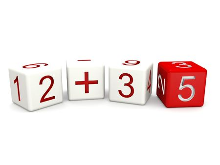 Children mathematics class concept 3d numbers dice isolated photo