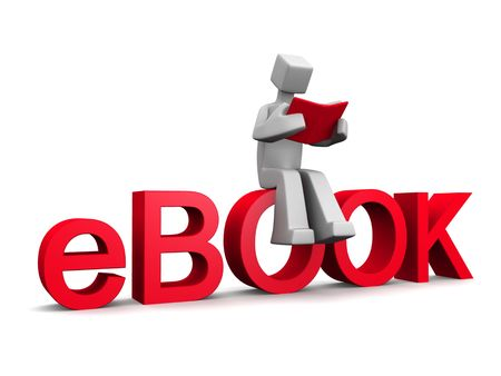 file share: 3d man sitting on ebook word reading a red book isolated illustration