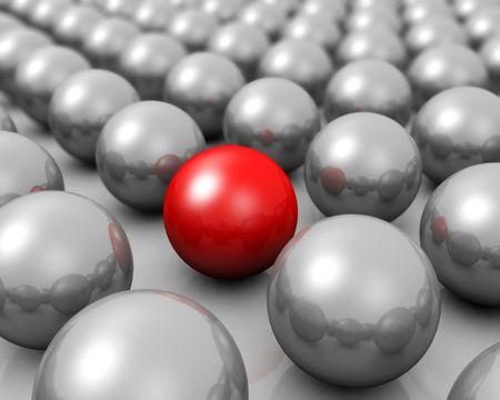 eigenaardig: Unieke concept een rode bol te onderscheiden van een groep van zilver bol 3D-afbeelding