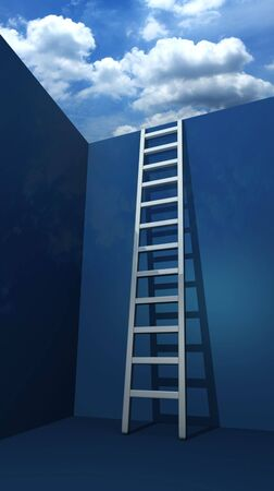 achievement concept: Staircase to freedom 3d rendered illustration