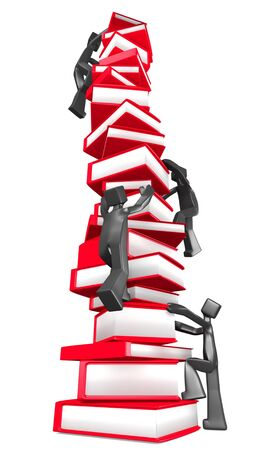 Learning curve concept 3d man climbing on pile of books to reach the top illustration illustration