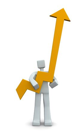 man pointing up: 3d man holding an arrow pointing up isolated 3d illustration