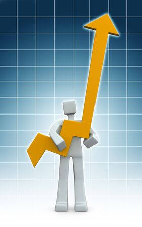 account management: Man hoding an arrow pointing up with graph background 3d illustration