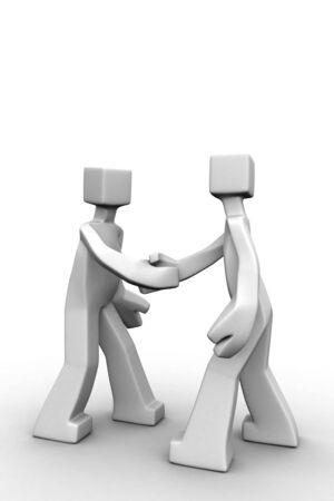 Two man shake hand white background 3d illustraton Stock Photo - 5042862