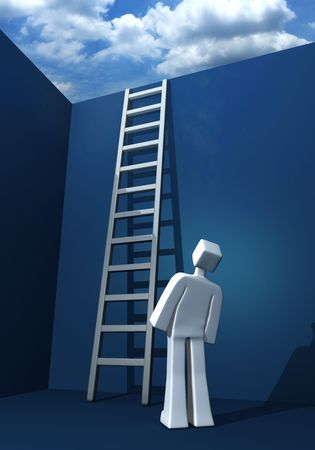 expect: 3d man looking at the ladder and the outside world 3d illustration