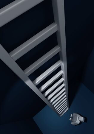 unrestrained: Man looking up of a long and high ladder 3d illustration