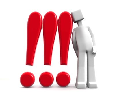 alarmed:  3d man lean against with three exclamation marks 3d illustration Stock Photo
