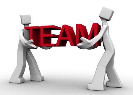 work together: Twee mensen werken samen om het team woord 3d illustration Stockfoto