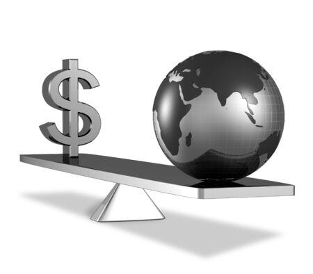 A dollar sign with globe on scale equal balance 3d illustration illustration
