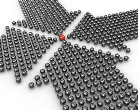 Four arrow point at outstanding red ball formed by 3d spheres illustration illustration