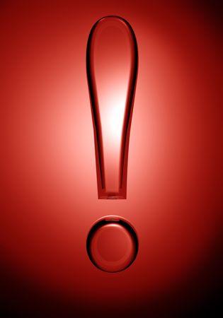 signo de admiracion: Signo de exclamaci�n transparente con fondo rojo 3d illustration Foto de archivo