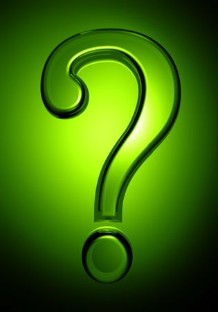 Transparent question mark with green background 3d illustration Stock Illustration - 5106308