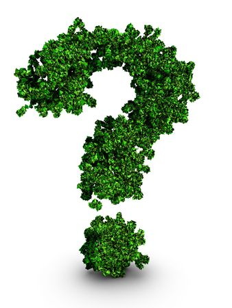 waste 3d: Question mark symbol formed by leaves environmental protection concept 3d illustration isolated