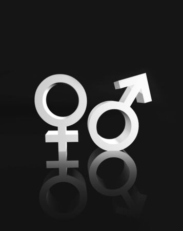 human gender: Gender female and male symbol with reflection couple concept 3d illustration