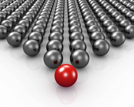 joining forces: Red sphere leading and stand out from cloud 3d illustration Stock Photo