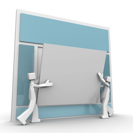 developing: Website development concept two designer developing a website content 3d illustration