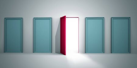 lighten: Opportunity to success concept only one red door is open for opportunity 3d illustration
