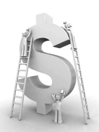 Make money concept three team member making a dollar symbol 3d illustration Stock Photo