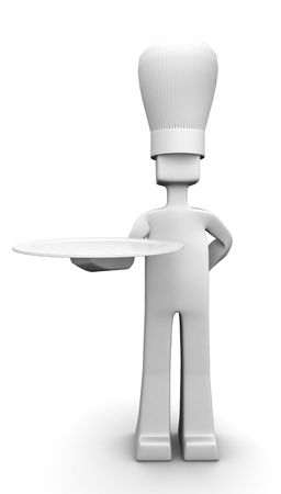 Chef holding a plate serving customer 3d illustration you can put your delicious food on the plate