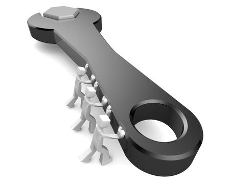 maintainer: Three man pushing spanner teamwork services concept 3d illustration