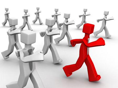 Red leader leading group of businessman 3d illustration
