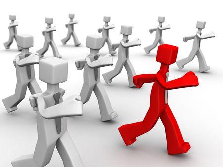 follow the leader: Rode leider toonaangevende groep van zakenman 3d illustration