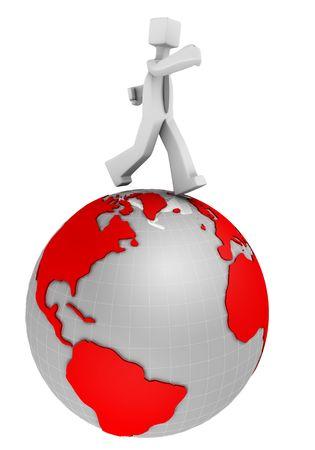 negocios internacionales: Concepto de negocios internacionales de negocios en ejecuci�n en un mundo 3d illustration